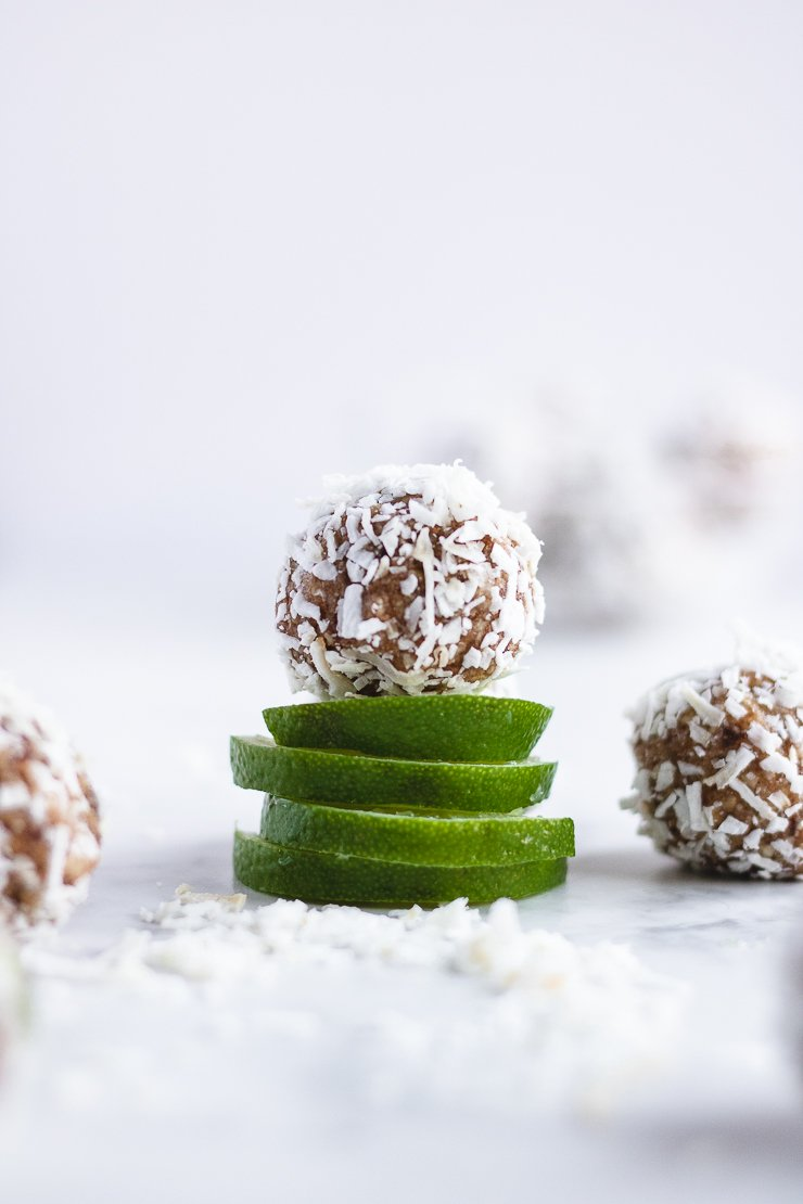 energy balls with dates, lime, and coconut (paleo, vegan)