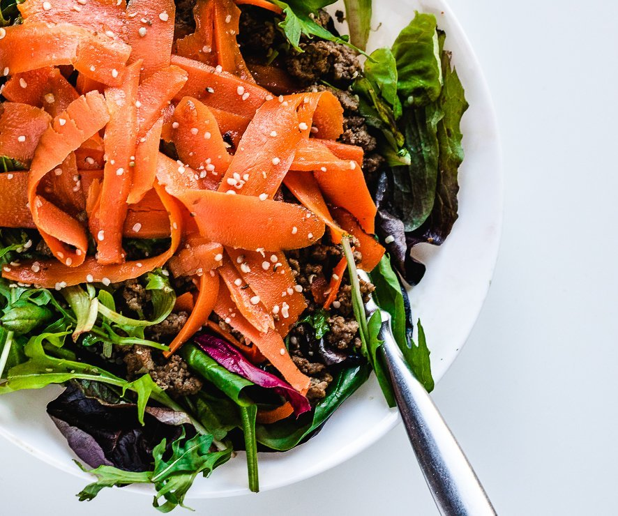 easy winter salad recipe with beef and carrots