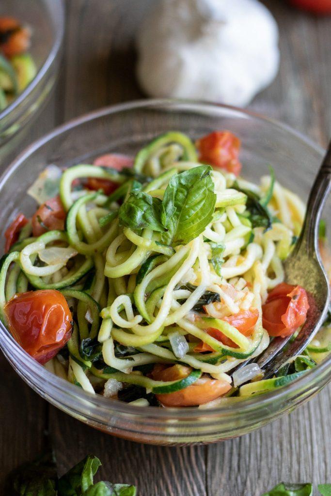 garden pasta with zucchini noodles